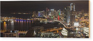 Miami After Dark II Skyline  Wood Print