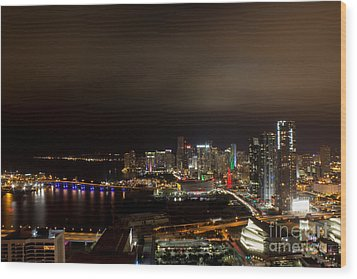 Miami After Dark Wood Print by Rene Triay Photography