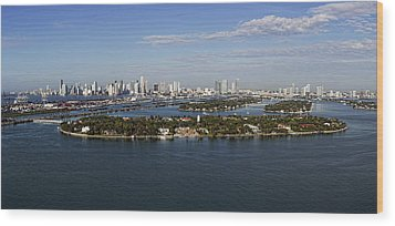 Wood Print featuring the photograph Miami And Star Island Skyline by Gary Dean Mercer Clark