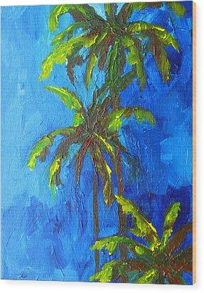 Miami Beach Palm Trees In A Blue Sky Wood Print by Patricia Awapara