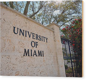 Miami Campus Sign In Spring Wood Print by Replay Photos