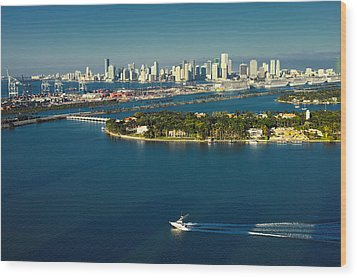 Wood Print featuring the photograph Miami City Biscayne Bay Skyline by Gary Dean Mercer Clark