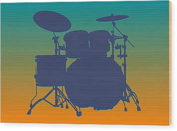 Miami Dolphins Drum Set Wood Print
