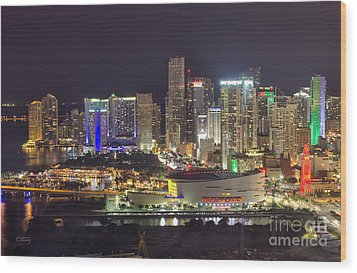 Miami Downtown Skyline American Airlines Arena Wood Print