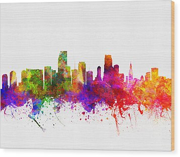 Miami Florida Skyline Wood Print by Aged Pixel