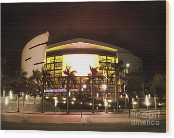 Miami Heat Aa Arena Wood Print by Andres LaBrada
