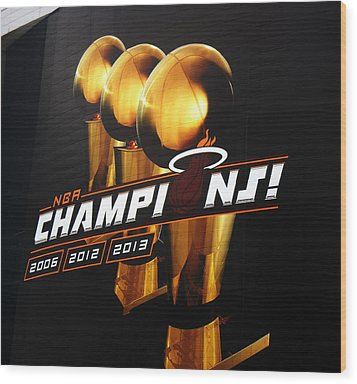 Miami Heat Aaa Championship Banner Wood Print by J Anthony
