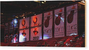 Miami Heat Banners Wood Print by J Anthony