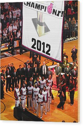 Wood Print featuring the photograph Miami Heat Championship Banner by J Anthony
