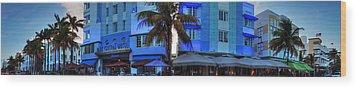 Miami - Ocean Drive Pano 003 Wood Print by Lance Vaughn