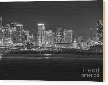 Miami On A Clear Summer Night Wood Print
