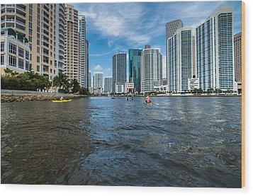 Miami River Kayakers Wood Print by Jonathan Gewirtz