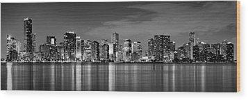 Miami Skyline At Dusk Black And White Bw Panorama Wood Print