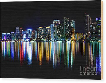 Miami Skyline High Res Wood Print by Rene Triay Photography