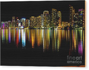 Miami Skyline II High Res Wood Print by Rene Triay Photography