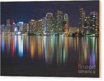 Miami Skyline IIi High Res Wood Print by Rene Triay Photography