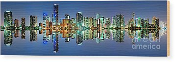 Miami Skyline Panorama Wood Print by Carsten Reisinger