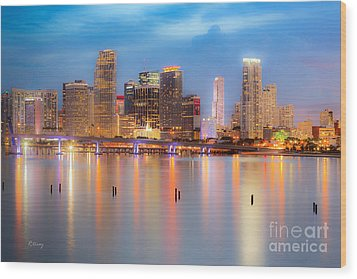 Miami Skyline On A Still Night- Soft Focus  Wood Print