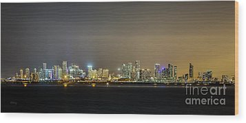 Miami Skyline View II Wood Print
