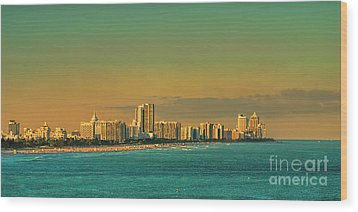 Miami Sunset Wood Print by Olga Hamilton