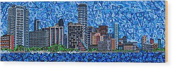 Miami - View From Rickenbacker Causeway Wood Print by Micah Mullen