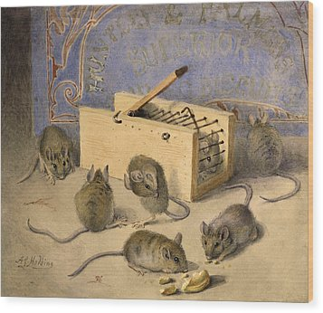 Mice And Huntley Palmers Superior Biscuits Wood Print by Agnes Louise Holding