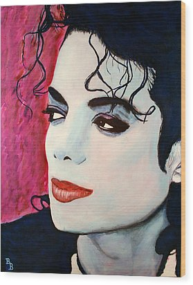 Wood Print featuring the painting Michael Jackson Art - Full Color by Bob Baker