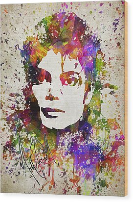 Michael Jackson In Color Wood Print by Aged Pixel