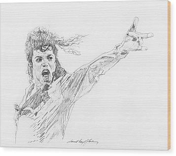 Michael Jackson Power Performance Wood Print by David Lloyd Glover