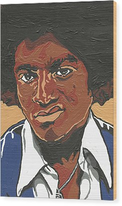 Wood Print featuring the painting Michael Jackson by Rachel Natalie Rawlins