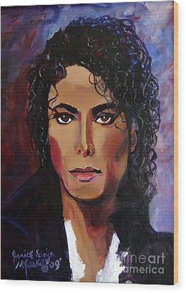 Wood Print featuring the painting Michael Jackson Timeless Memory by Ecinja Art Works