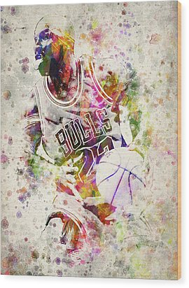 Michael Jordan Wood Print by Aged Pixel