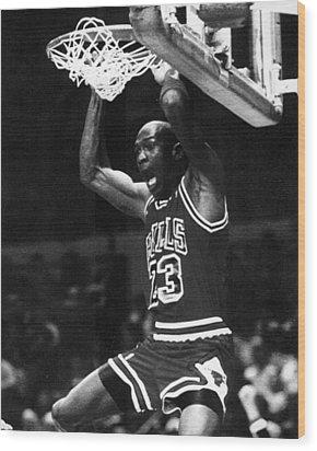 Michael Jordan Dunks Wood Print by Retro Images Archive