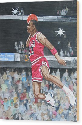 Michael Jordan Wood Print by Freda Nichols