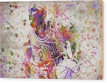 Michael Jordan In Color Wood Print