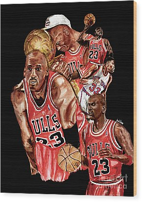 Michael Jordan Wood Print by Israel Torres