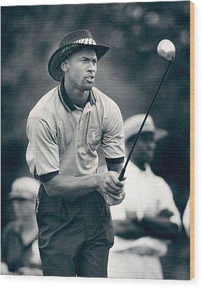 Michael Jordan Looks At Golf Shot Wood Print