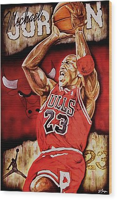 Michael Jordan Oil Painting Wood Print by Dan Troyer