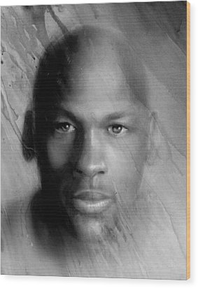 Michael Jordan Potrait Wood Print by Angie Villegas