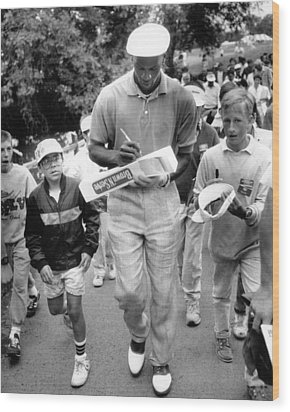 Michael Jordan Signing Autographs Wood Print by Retro Images Archive