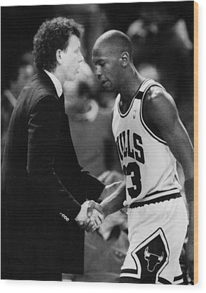 Michael Jordan Talks With Coach Wood Print by Retro Images Archive