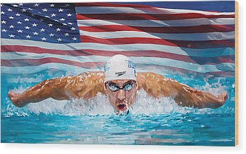 Michael Phelps Artwork Wood Print by Sheraz A