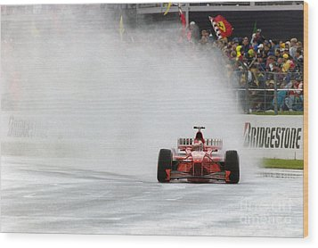 Michael Schumacher Rainmaster Wood Print by Gary Doak