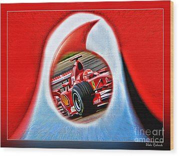 Michael Schumacher Though The Logo Wood Print by Blake Richards