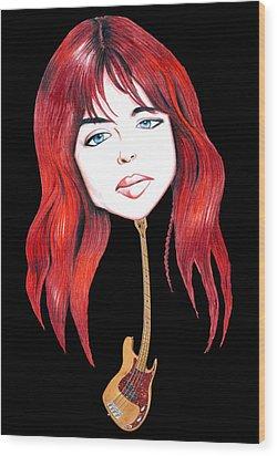 Michael Steele Musician Illustration Wood Print by Diego Abelenda