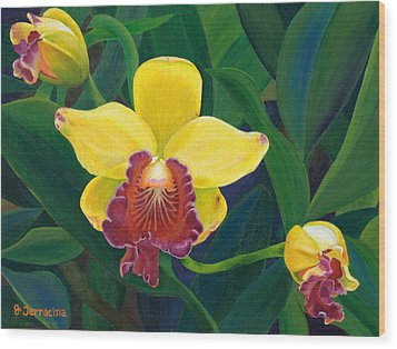 Michaela's Yellow Budda Wood Print by Jodi Terracina