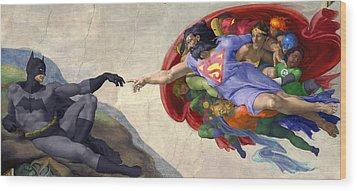 Michelangelos Creation Of Batman  Wood Print by Isaac Bluefoot