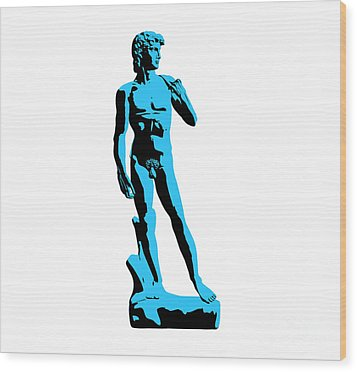 Michelangelos David - Stencil Style Wood Print by Pixel Chimp