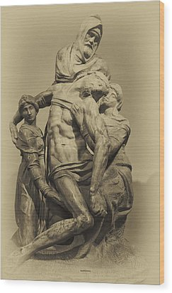 Michelangelo's Florence Pieta Wood Print by Melany Sarafis