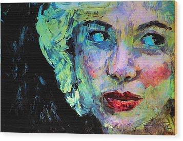 Michelle As Marilyn Wood Print by Jim Vance